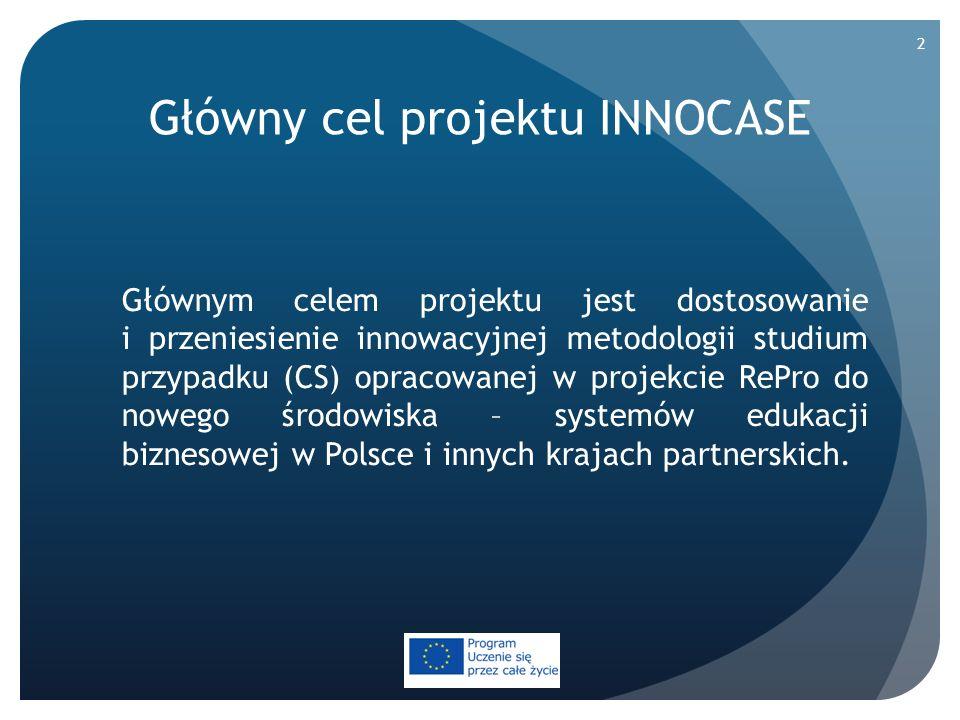 Główny cel projektu INNOCASE Głównym celem projektu jest dostosowanie i przeniesienie innowacyjnej metodologii studium przypadku (CS) opracowanej w pr