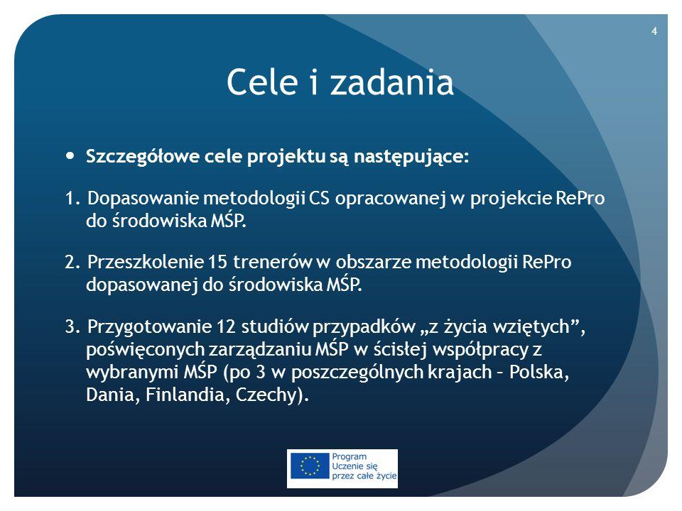 Cele i zadania Szczegółowe cele projektu są następujące: 1. Dopasowanie metodologii CS opracowanej w projekcie RePro do środowiska MŚP. 2. Przeszkolen
