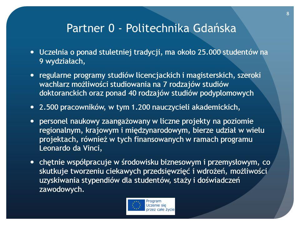 Partner 1 - The Municipal Federation of Savonia University of Applied Sciences Jeden z największych uniwersytetów w Finlandii, na którym studiuje około 6.500 studentów, ma partnerów na całym świecie i współpracuje z nimi w międzynarodowych projektach, koordynuje/bierze udział w międzynarodowych programach, takich jak: LLP, FIRST, TEMPUS, NORDPLUS i NORTH-SOUTH, działalność w zakresie Badań, Rozwoju i Innowacji (RDI) oferuje wysoką jakość obsługi i zindywidualizowane rozwiązania na potrzeby rozwojowe przedsiębiorstw i wspólnot pracy, RDI odbywa się we współpracy z przedsiębiorstwami i organizacjami w celu rozwiązania kwestii międzysektorowych na rzecz rozwoju, działania RDI testują nowe pomysły, metody, produkty i usługi oraz promują prace innowacyjne, UAS posiada duże doświadczenie w realizacji i koordynacji różnych projektów badawczo-rozwojowych.