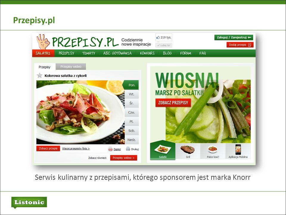 Serwis kulinarny z przepisami, którego sponsorem jest marka Knorr Przepisy.pl
