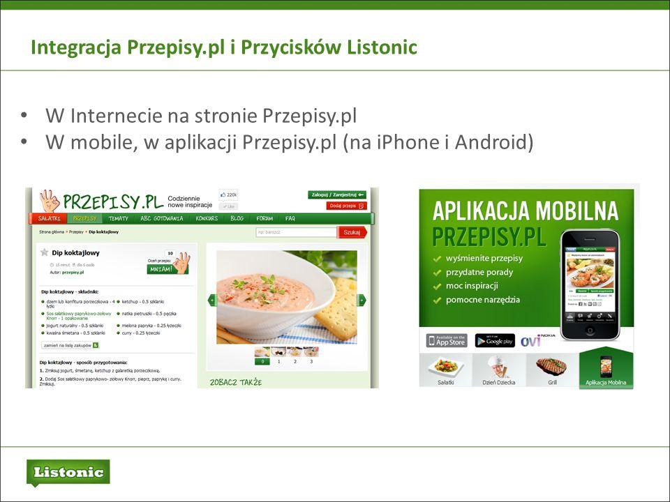 Integracja Przepisy.pl i Przycisków Listonic W Internecie na stronie Przepisy.pl W mobile, w aplikacji Przepisy.pl (na iPhone i Android)