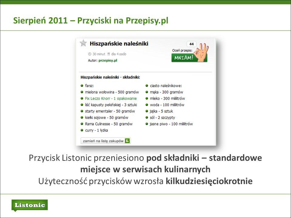 Sierpień 2011 – Przyciski na Przepisy.pl Przycisk Listonic przeniesiono pod składniki – standardowe miejsce w serwisach kulinarnych Użyteczność przyci