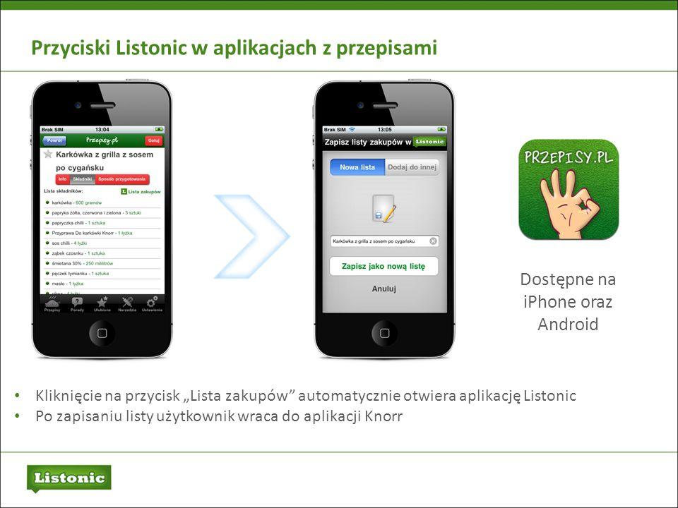 Przyciski Listonic w aplikacjach z przepisami Kliknięcie na przycisk Lista zakupów automatycznie otwiera aplikację Listonic Po zapisaniu listy użytkow