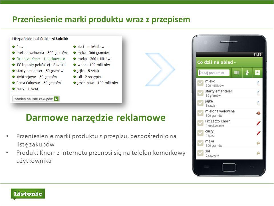 Przeniesienie marki produktu wraz z przepisem Darmowe narzędzie reklamowe Przeniesienie marki produktu z przepisu, bezpośrednio na listę zakupów Produ
