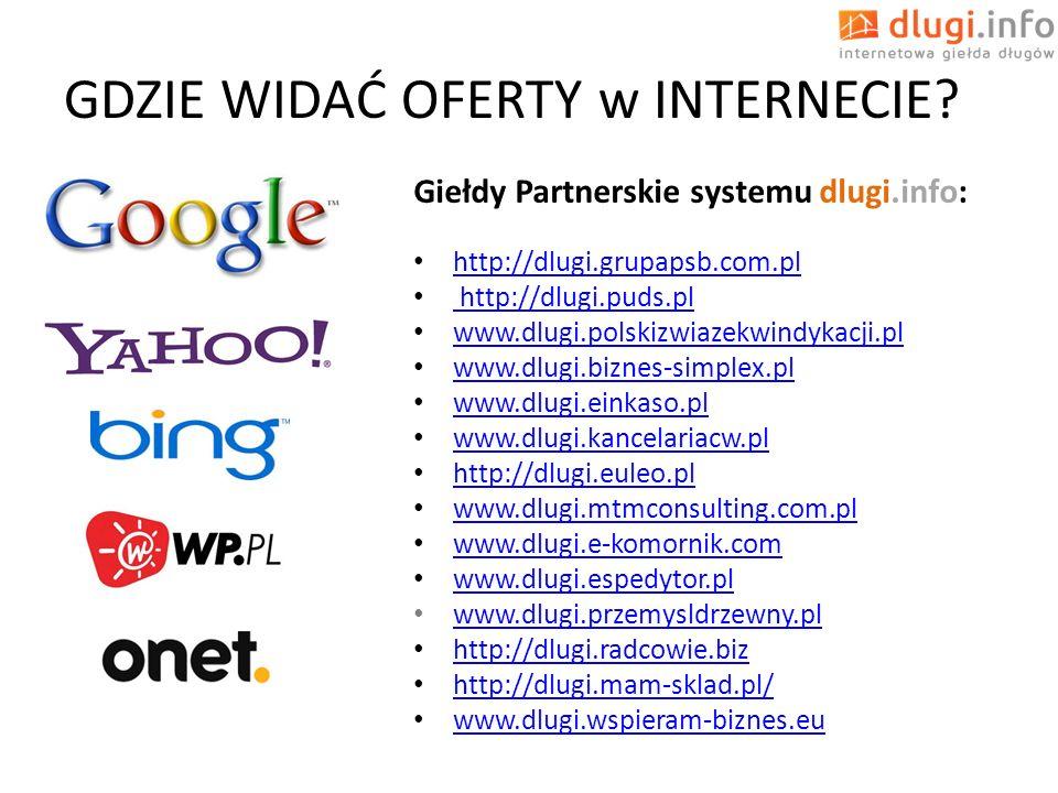 GDZIE WIDAĆ OFERTY w INTERNECIE? Giełdy Partnerskie systemu dlugi.info: http://dlugi.grupapsb.com.pl http://dlugi.puds.pl http://dlugi.puds.pl www.dlu
