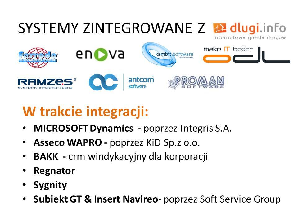 SYSTEMY ZINTEGROWANE Z W trakcie integracji: MICROSOFT Dynamics - poprzez Integris S.A. Asseco WAPRO - poprzez KiD Sp.z o.o. BAKK - crm windykacyjny d