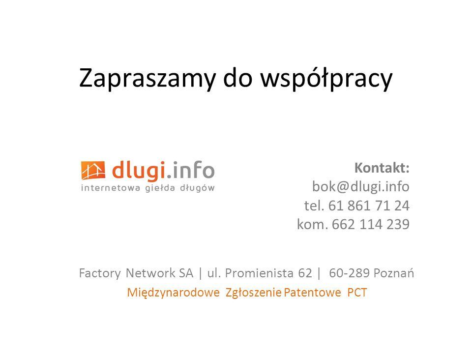 Zapraszamy do współpracy Factory Network SA | ul. Promienista 62 | 60-289 Poznań Międzynarodowe Zgłoszenie Patentowe PCT Kontakt: bok@dlugi.info tel.