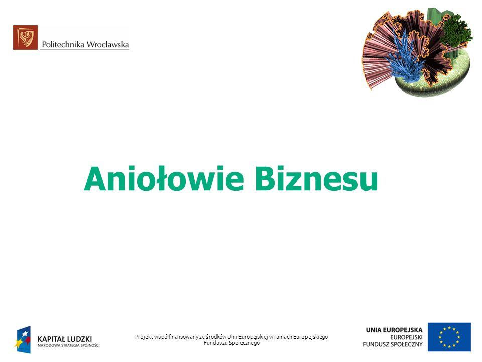 Aniołowie Biznesu Projekt współfinansowany ze środków Unii Europejskiej w ramach Europejskiego Funduszu Społecznego