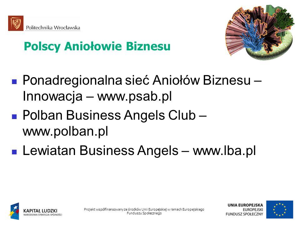 Polscy Aniołowie Biznesu Po nadregionalna sieć Aniołów Biznesu – Innowacja – www.psab.pl Po lban Business Angels Club – www.polban.pl Lewiatan Busines