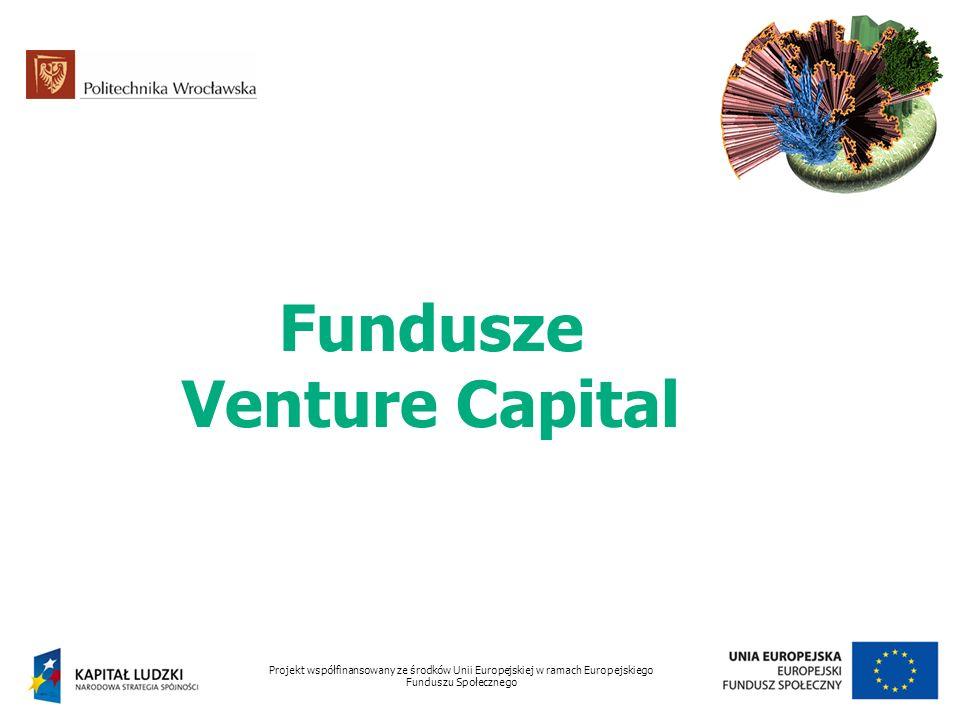 Fundusze Venture Capital Projekt współfinansowany ze środków Unii Europejskiej w ramach Europejskiego Funduszu Społecznego