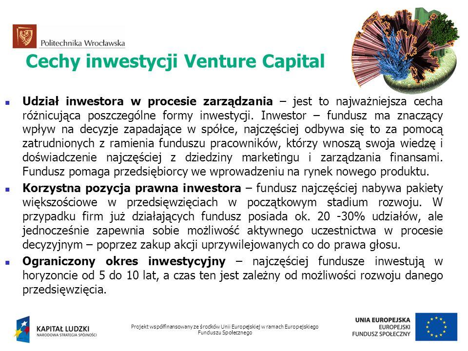Cechy inwestycji Venture Capital Udział inwestora w procesie zarządzania – jest to najważniejsza cecha różnicująca poszczególne formy inwestycji. Inwe