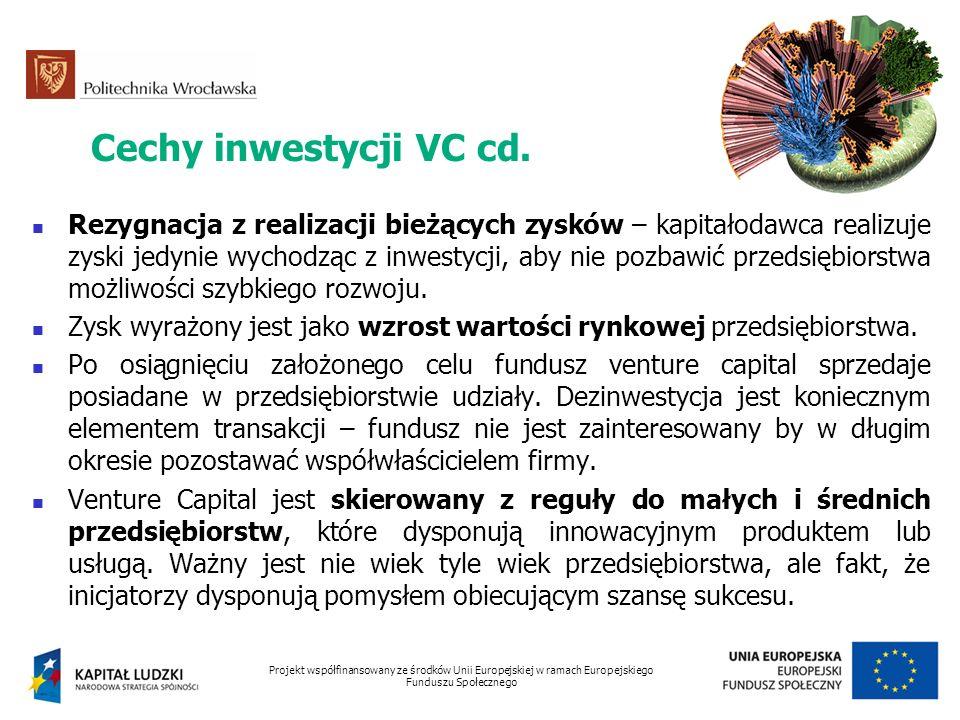 Cechy inwestycji VC cd. Rezygnacja z realizacji bieżących zysków – kapitałodawca realizuje zyski jedynie wychodząc z inwestycji, aby nie pozbawić prze
