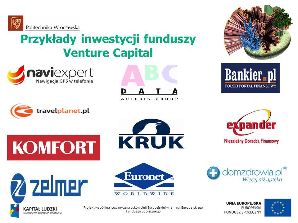Przykłady inwestycji funduszy Venture Capital Projekt współfinansowany ze środków Unii Europejskiej w ramach Europejskiego Funduszu Społecznego