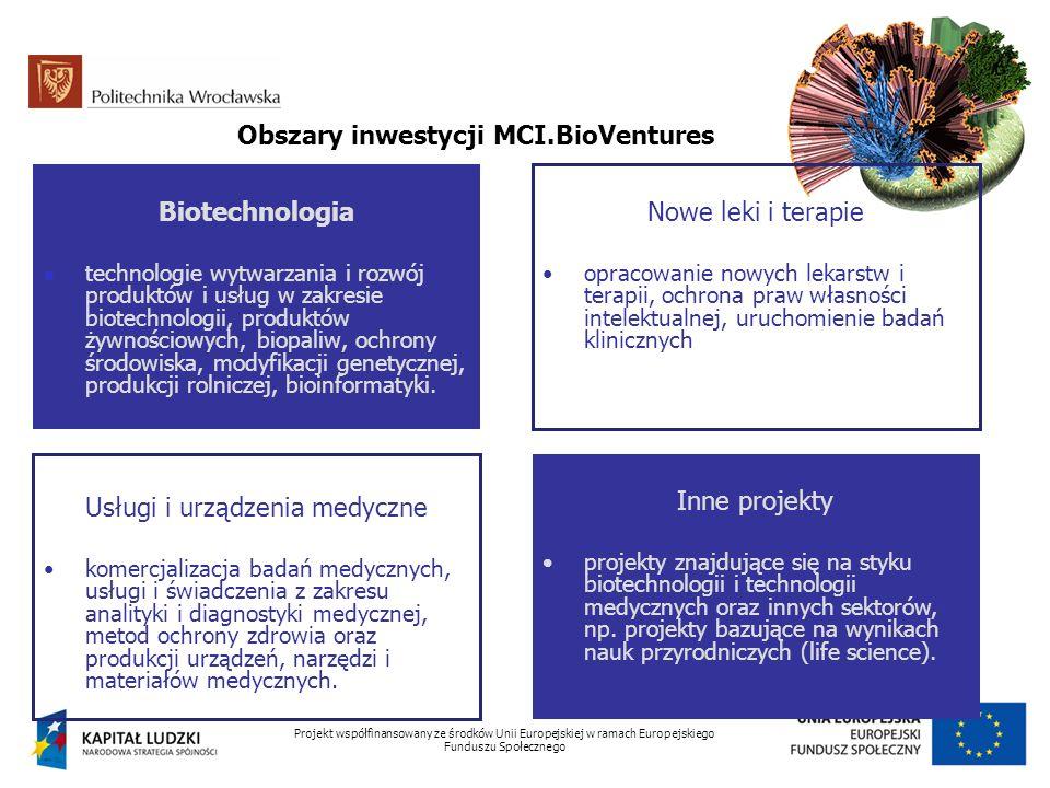 Projekt współfinansowany ze środków Unii Europejskiej w ramach Europejskiego Funduszu Społecznego Obszary inwestycji MCI.BioVentures Biotechnologia te