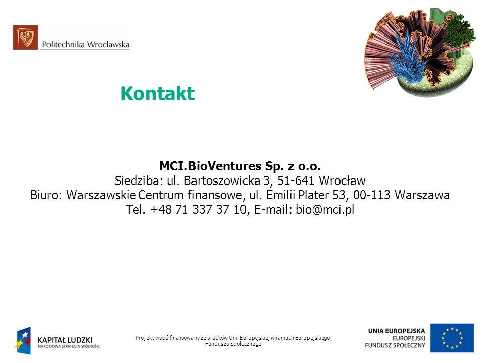 Kontakt Projekt współfinansowany ze środków Unii Europejskiej w ramach Europejskiego Funduszu Społecznego MCI.BioVentures Sp. z o.o. Siedziba: ul. Bar