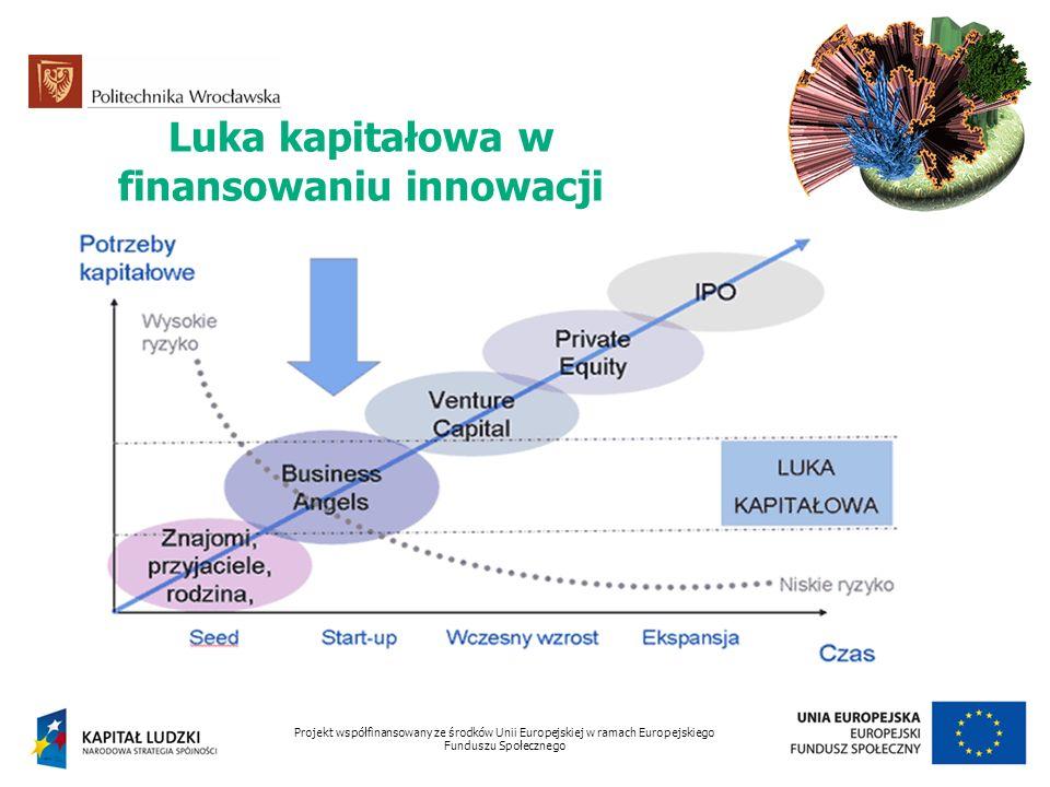 Luka kapitałowa w finansowaniu innowacji Projekt współfinansowany ze środków Unii Europejskiej w ramach Europejskiego Funduszu Społecznego