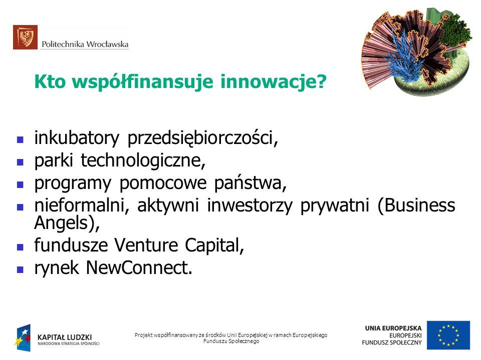 Kto współfinansuje innowacje? inkubatory przedsiębiorczości, parki technologiczne, programy pomocowe państwa, nieformalni, aktywni inwestorzy prywatni