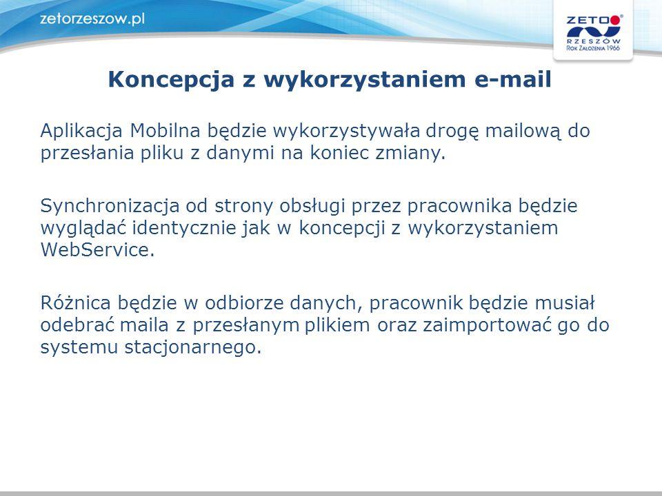 Koncepcja z wykorzystaniem e-mail Aplikacja Mobilna będzie wykorzystywała drogę mailową do przesłania pliku z danymi na koniec zmiany. Synchronizacja