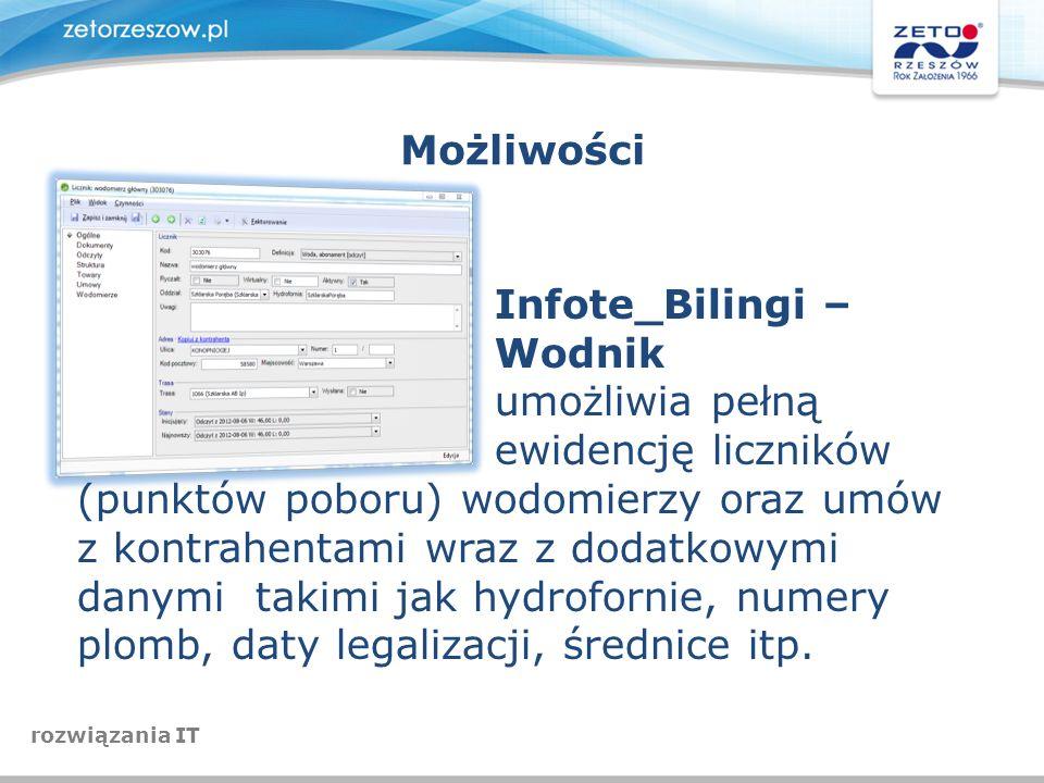 Możliwości Infote_Bilingi – Wodnik umożliwia pełną ewidencję liczników (punktów poboru) wodomierzy oraz umów z kontrahentami wraz z dodatkowymi danymi