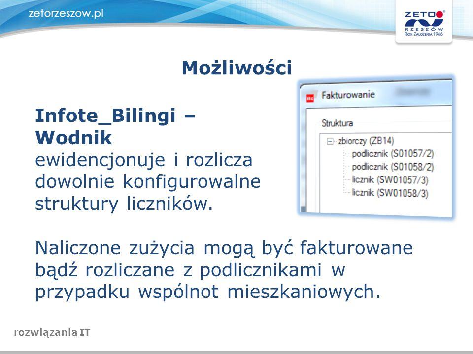 Możliwości Infote_Bilingi – Wodnik ewidencjonuje i rozlicza dowolnie konfigurowalne struktury liczników. Naliczone zużycia mogą być fakturowane bądź r