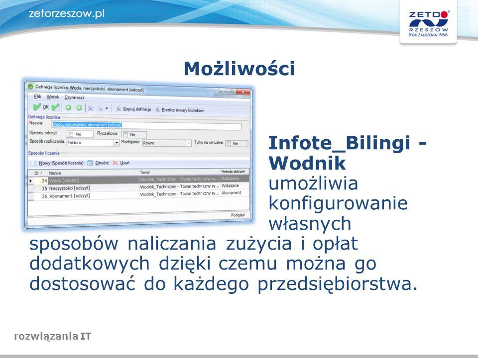 Możliwości Infote_Bilingi - Wodnik umożliwia konfigurowanie własnych sposobów naliczania zużycia i opłat dodatkowych dzięki czemu można go dostosować
