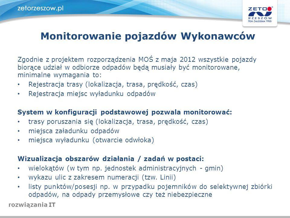 Zgodnie z projektem rozporządzenia MOŚ z maja 2012 wszystkie pojazdy biorące udział w odbiorze odpadów będą musiały być monitorowane, minimalne wymaga