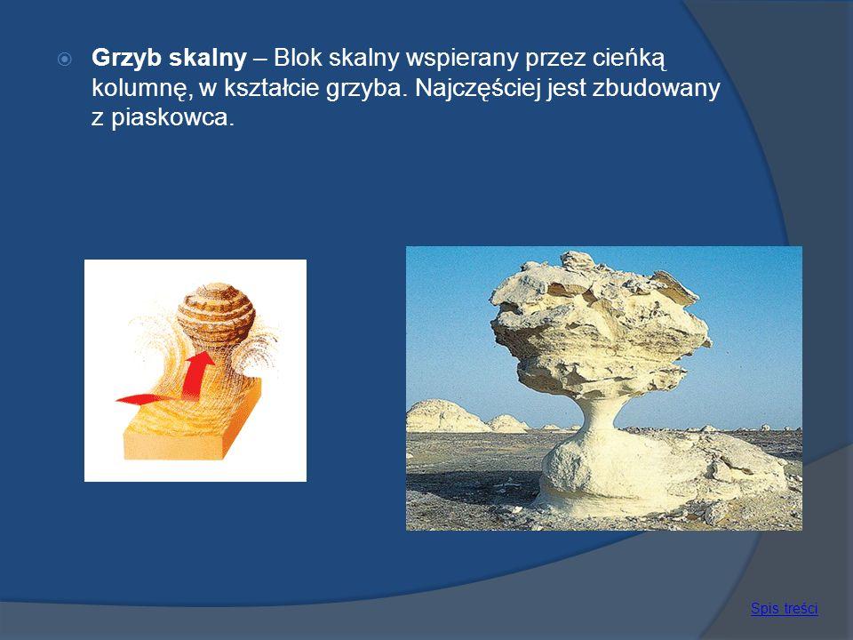Grzyb skalny – Blok skalny wspierany przez cieńką kolumnę, w kształcie grzyba. Najczęściej jest zbudowany z piaskowca. Spis treści