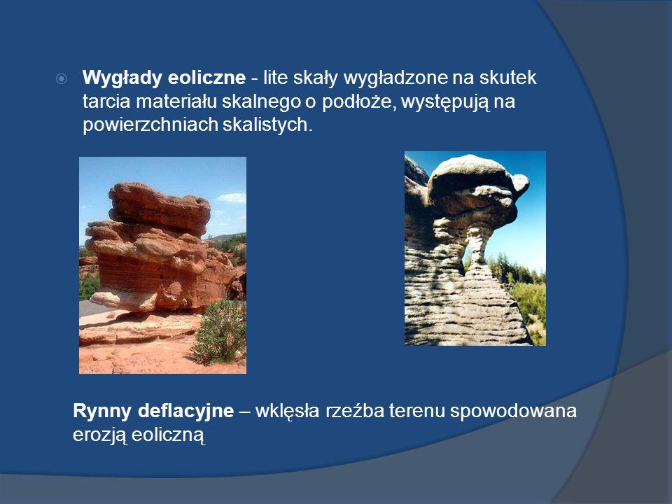 Wygłady eoliczne - lite skały wygładzone na skutek tarcia materiału skalnego o podłoże, występują na powierzchniach skalistych. Rynny deflacyjne – wkl