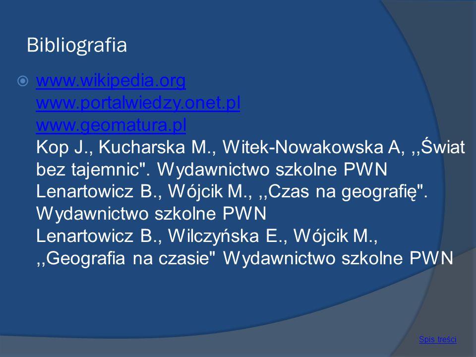 Bibliografia www.wikipedia.org www.portalwiedzy.onet.pl www.geomatura.pl Kop J., Kucharska M., Witek-Nowakowska A,,,Świat bez tajemnic