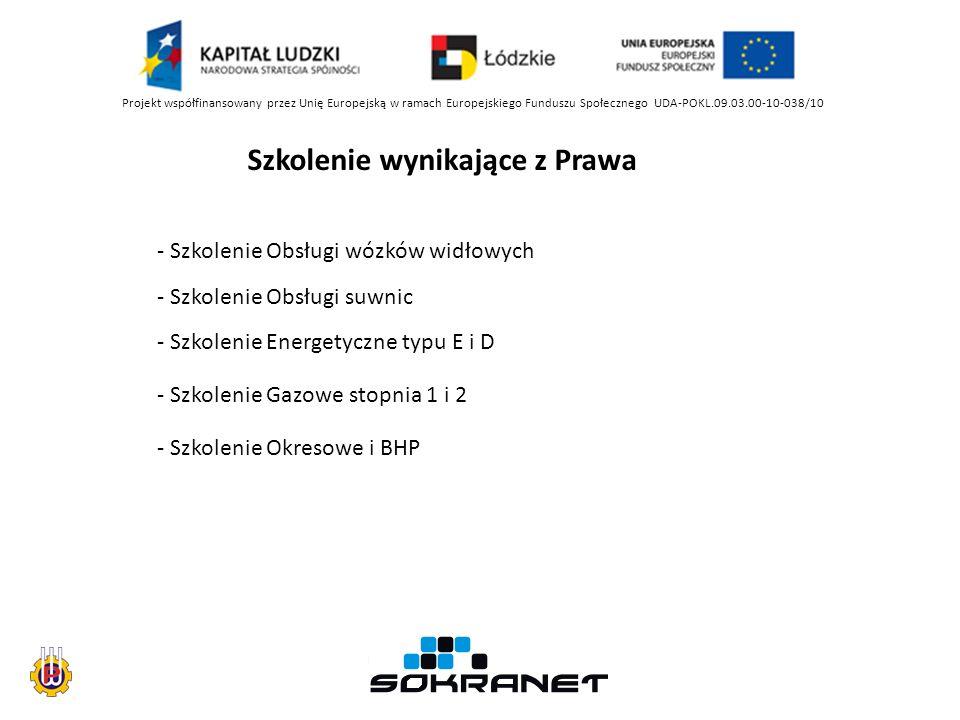 Projekt współfinansowany przez Unię Europejską w ramach Europejskiego Funduszu Społecznego UDA-POKL.09.03.00-10-038/10 Szkolenie wynikające z Prawa - Szkolenie Obsługi wózków widłowych - Szkolenie Obsługi suwnic - Szkolenie Energetyczne typu E i D - Szkolenie Gazowe stopnia 1 i 2 - Szkolenie Okresowe i BHP