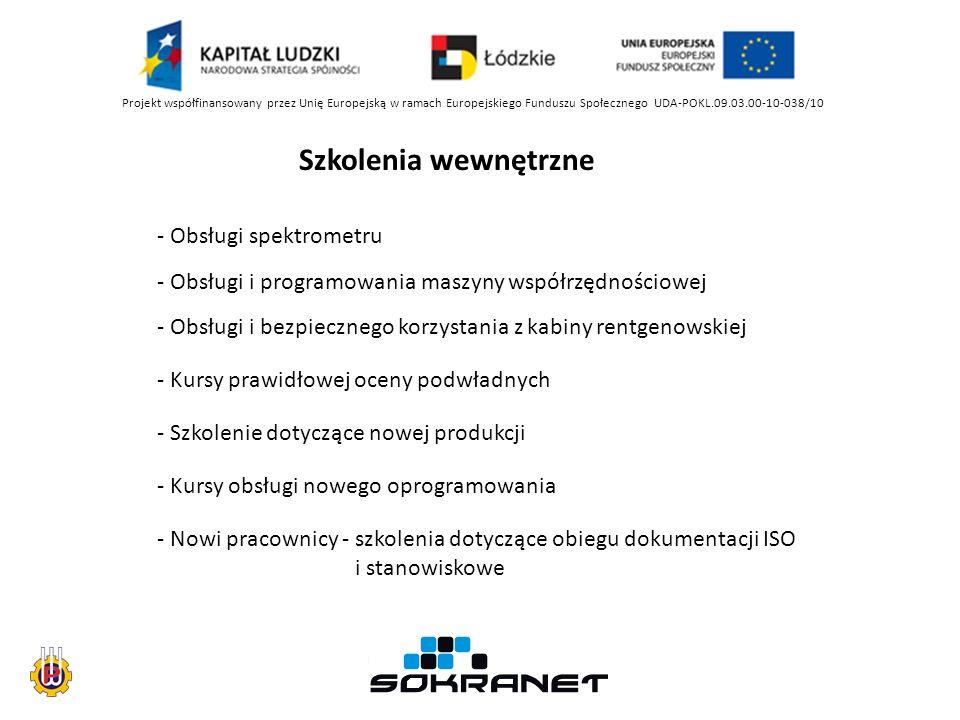 Projekt współfinansowany przez Unię Europejską w ramach Europejskiego Funduszu Społecznego UDA-POKL.09.03.00-10-038/10 Szkolenia wewnętrzne - Obsługi spektrometru - Obsługi i programowania maszyny współrzędnościowej - Obsługi i bezpiecznego korzystania z kabiny rentgenowskiej - Kursy prawidłowej oceny podwładnych - Szkolenie dotyczące nowej produkcji - Kursy obsługi nowego oprogramowania - Nowi pracownicy - szkolenia dotyczące obiegu dokumentacji ISO i stanowiskowe