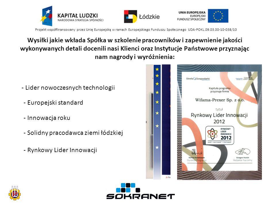 Projekt współfinansowany przez Unię Europejską w ramach Europejskiego Funduszu Społecznego UDA-POKL.09.03.00-10-038/10 Wysiłki jakie wkłada Spółka w szkolenie pracowników i zapewnienie jakości wykonywanych detali docenili nasi Klienci oraz Instytucje Państwowe przyznając nam nagrody i wyróżnienia: - Lider nowoczesnych technologii - Europejski standard - Innowacja roku - Solidny pracodawca ziemi łódzkiej - Rynkowy Lider Innowacji