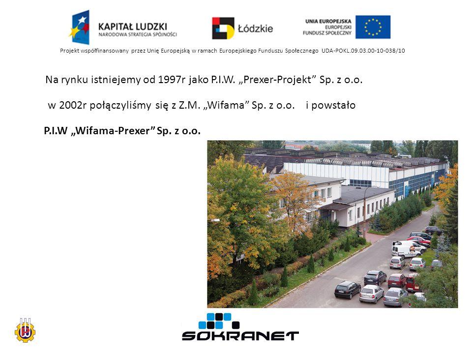 Projekt współfinansowany przez Unię Europejską w ramach Europejskiego Funduszu Społecznego UDA-POKL.09.03.00-10-038/10 Na rynku istniejemy od 1997r jako P.I.W.