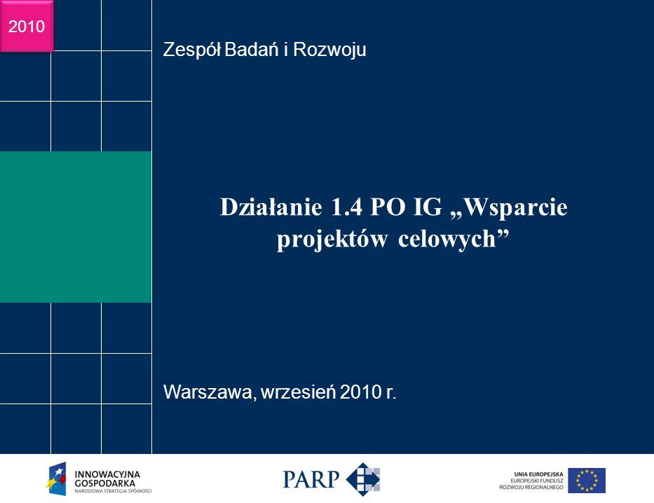 2009 Działanie 1.4 PO IG Wsparcie projektów celowych Zespół Badań i Rozwoju Warszawa, wrzesień 2010 r.