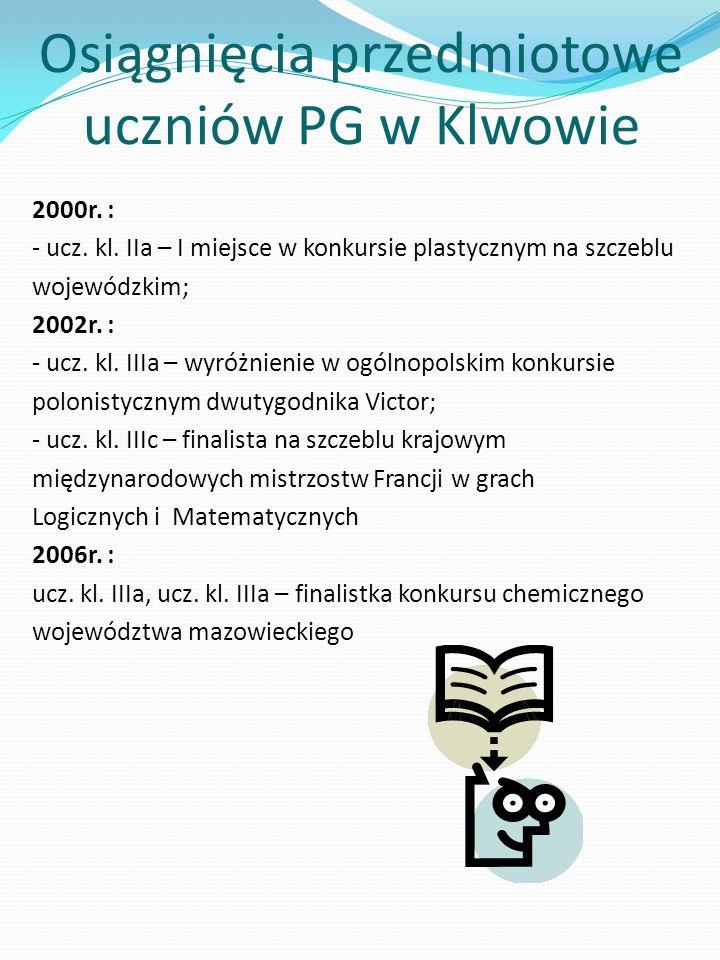 Osiągnięcia przedmiotowe uczniów PG w Klwowie 2000r.