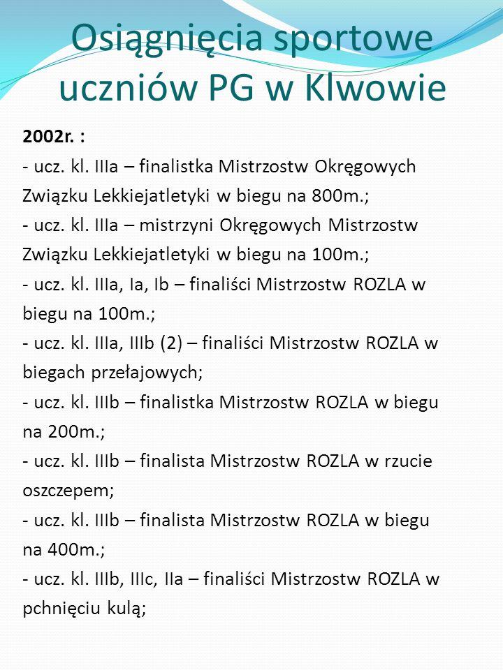 Osiągnięcia sportowe uczniów PG w Klwowie 2002r.: - ucz.