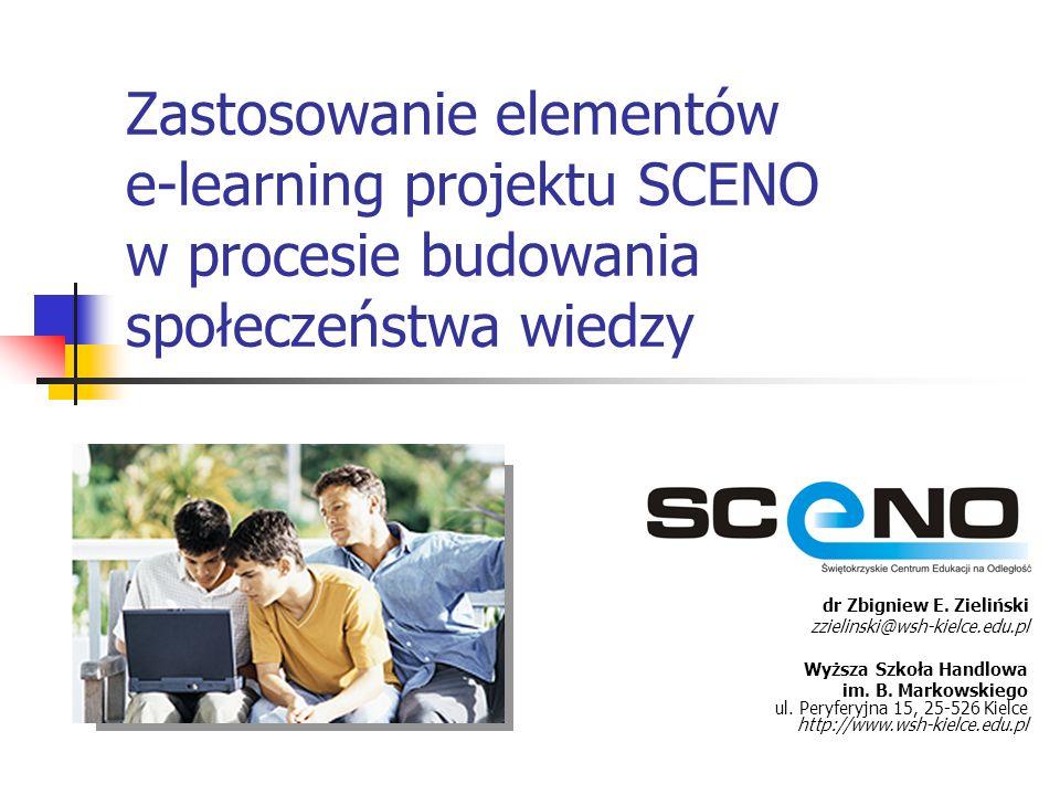 12 Elementy e-learning w procesie budowania społeczeństwa wiedzy – Centrum Wiedzy (3) Przygotowanie i udostępnienie społeczności internautów baz wiedzy dotyczących zagadnień obejmujących elementy e-pracy, e- learningu, a także dane zawierające informacje o firmach szkoleniowych w regionie świętokrzyskim, przedsiębiorczości w województwie, poradniki biznesowe czy słowniki i darmowe aplikacje edukacyjne dostępne poprzez Internet.