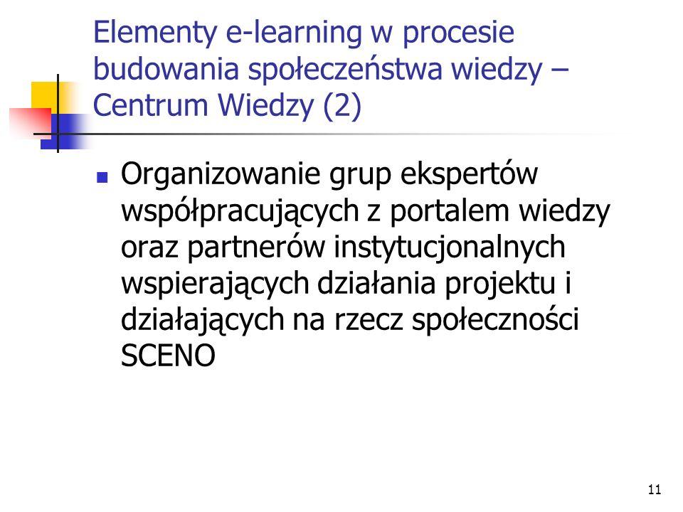 11 Elementy e-learning w procesie budowania społeczeństwa wiedzy – Centrum Wiedzy (2) Organizowanie grup ekspertów współpracujących z portalem wiedzy