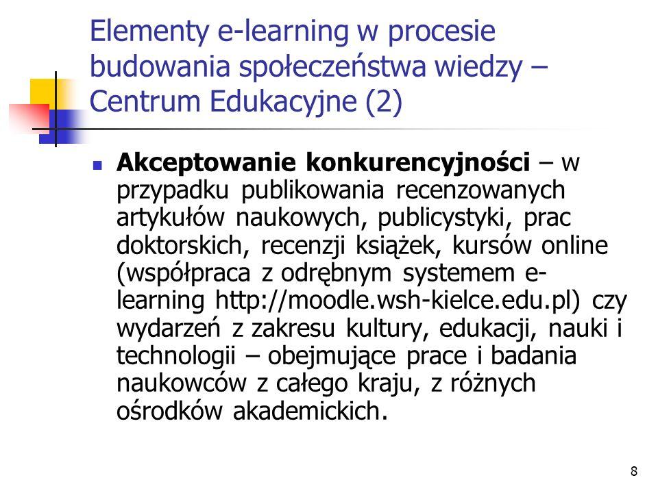 9 Elementy e-learning w procesie budowania społeczeństwa wiedzy – Centrum Edukacyjne (3) Szanowanie sukcesu innych – gdzie w ramach działań promujących e-learning organizowane są szkolenia i kursy blended learning prowadzące przez specjalistów współpracujących z portalem.