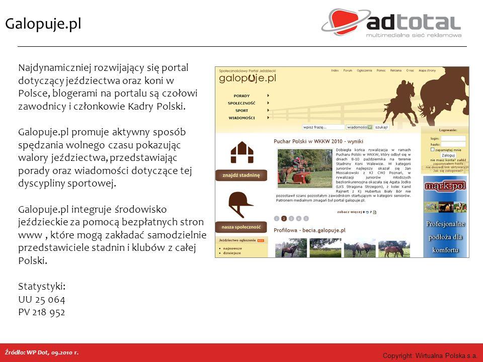 Copyright: Wirtualna Polska s.a. Galopuje.pl Najdynamiczniej rozwijający się portal dotyczący jeździectwa oraz koni w Polsce, blogerami na portalu są