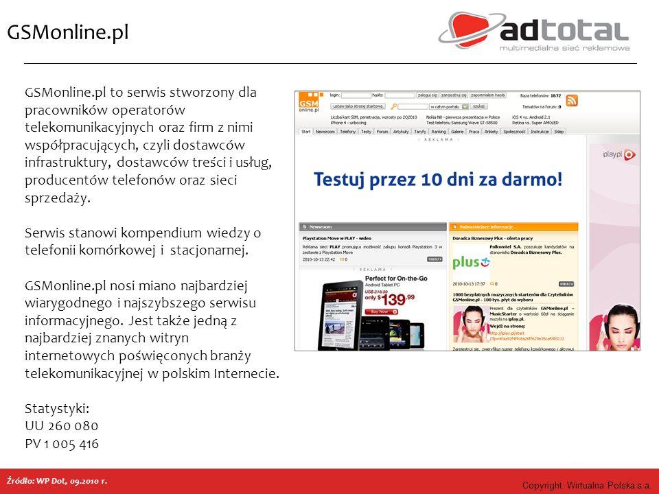 Copyright: Wirtualna Polska s.a. GSMonline.pl GSMonline.pl to serwis stworzony dla pracowników operatorów telekomunikacyjnych oraz firm z nimi współpr
