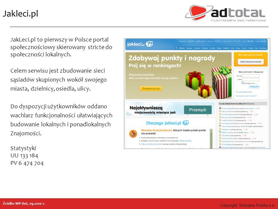 Copyright: Wirtualna Polska s.a. Jakleci.pl Źródło: WP Dot, 09.2010 r. JakLeci.pl to pierwszy w Polsce portal społecznościowy skierowany stricte do sp