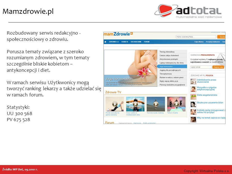 Copyright: Wirtualna Polska s.a. Mamzdrowie.pl Źródło: WP Dot, 09.2010 r. Rozbudowany serwis redakcyjno - społecznościowy o zdrowiu. Porusza tematy zw