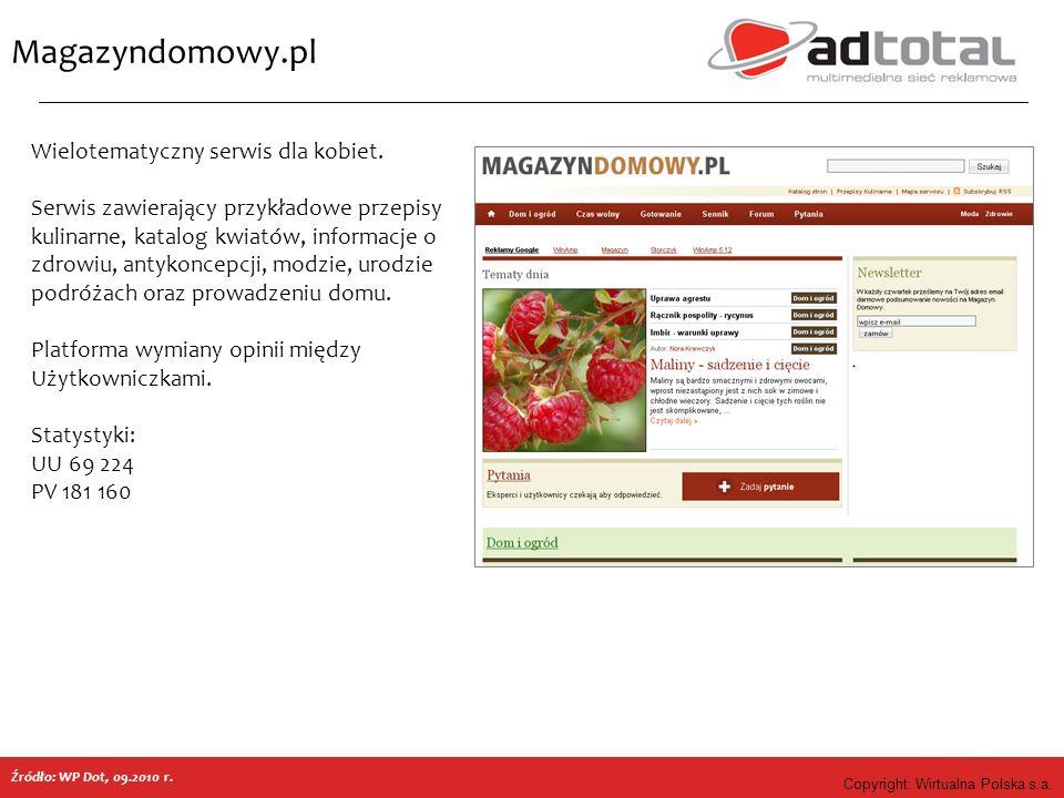 Copyright: Wirtualna Polska s.a. Magazyndomowy.pl Źródło: WP Dot, 09.2010 r. Wielotematyczny serwis dla kobiet. Serwis zawierający przykładowe przepis