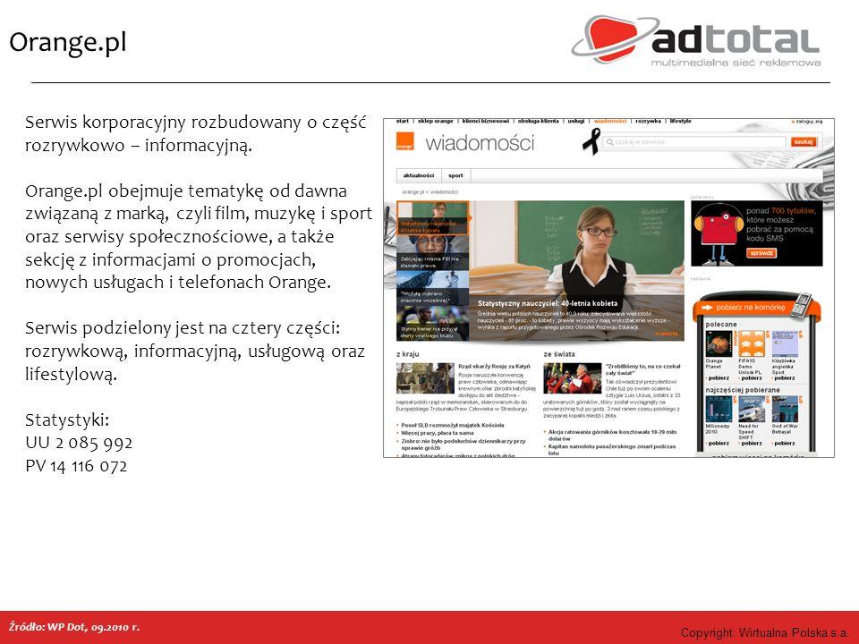 Copyright: Wirtualna Polska s.a. Orange.pl Serwis korporacyjny rozbudowany o część rozrywkowo – informacyjną. Orange.pl obejmuje tematykę od dawna zwi