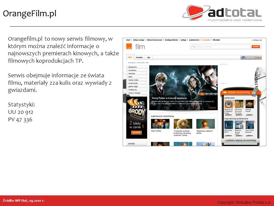 Copyright: Wirtualna Polska s.a. OrangeFilm.pl Orangefilm.pl to nowy serwis filmowy, w którym można znaleźć informacje o najnowszych premierach kinowy