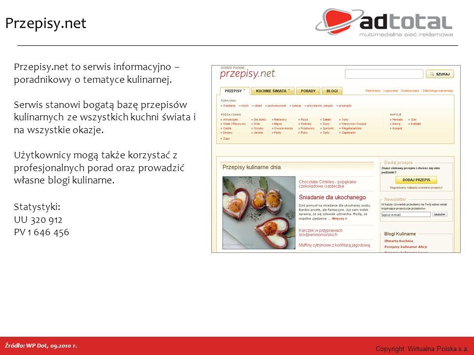 Copyright: Wirtualna Polska s.a. Przepisy.net Źródło: WP Dot, 09.2010 r. Przepisy.net to serwis informacyjno – poradnikowy o tematyce kulinarnej. Serw