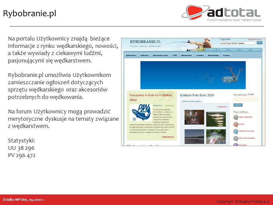 Copyright: Wirtualna Polska s.a. Rybobranie.pl Źródło: WP Dot, 09.2010 r. Na portalu Użytkownicy znajdą bieżące informacje z rynku wędkarskiego, nowoś