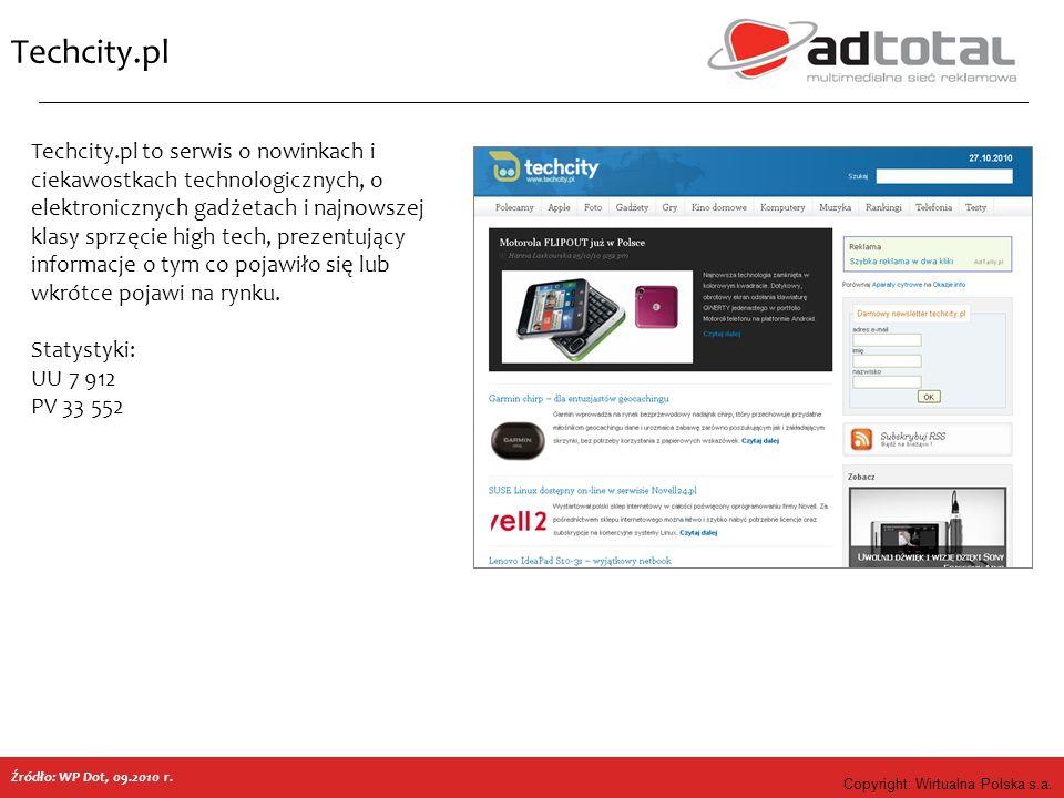 Copyright: Wirtualna Polska s.a. Techcity.pl Techcity.pl to serwis o nowinkach i ciekawostkach technologicznych, o elektronicznych gadżetach i najnows