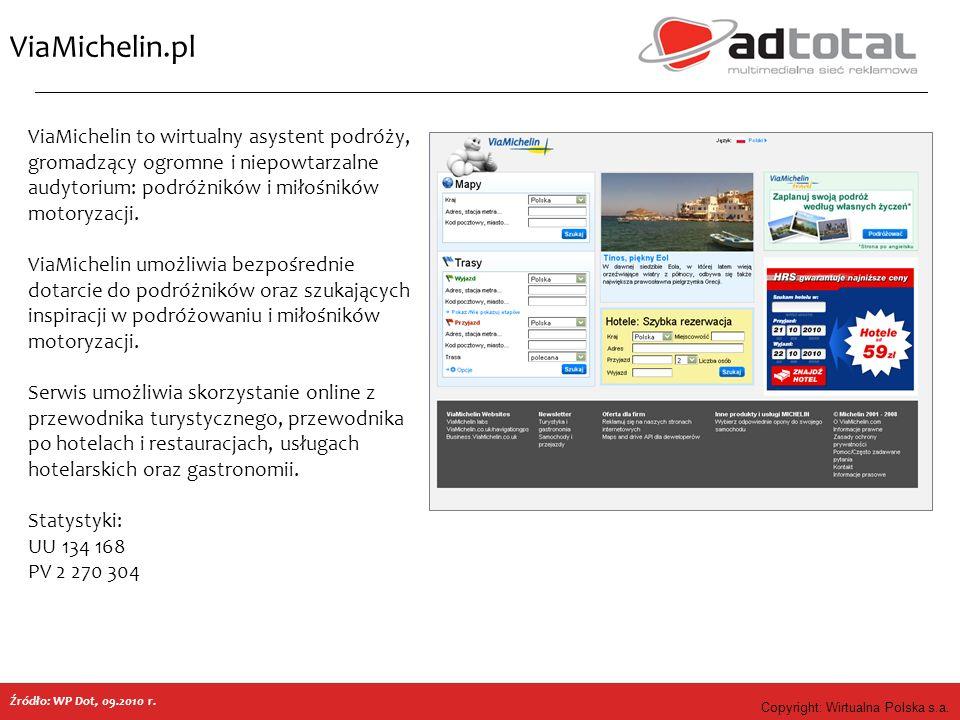 Copyright: Wirtualna Polska s.a. ViaMichelin.pl ViaMichelin to wirtualny asystent podróży, gromadzący ogromne i niepowtarzalne audytorium: podróżników